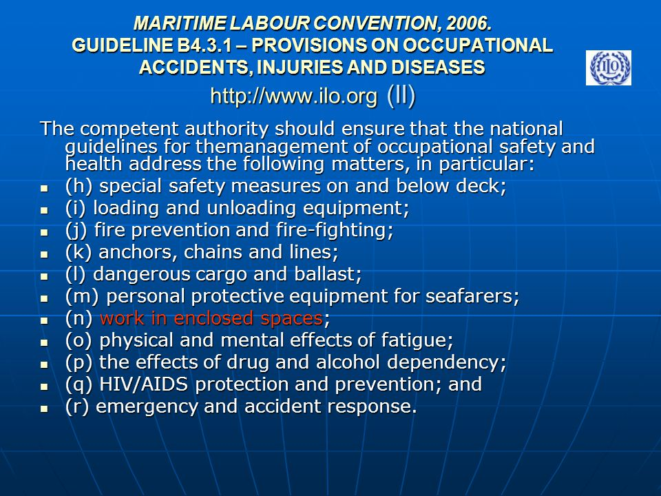 MARITIME LABOUR CONVENTION, 2006. GUIDELINE B4. 3