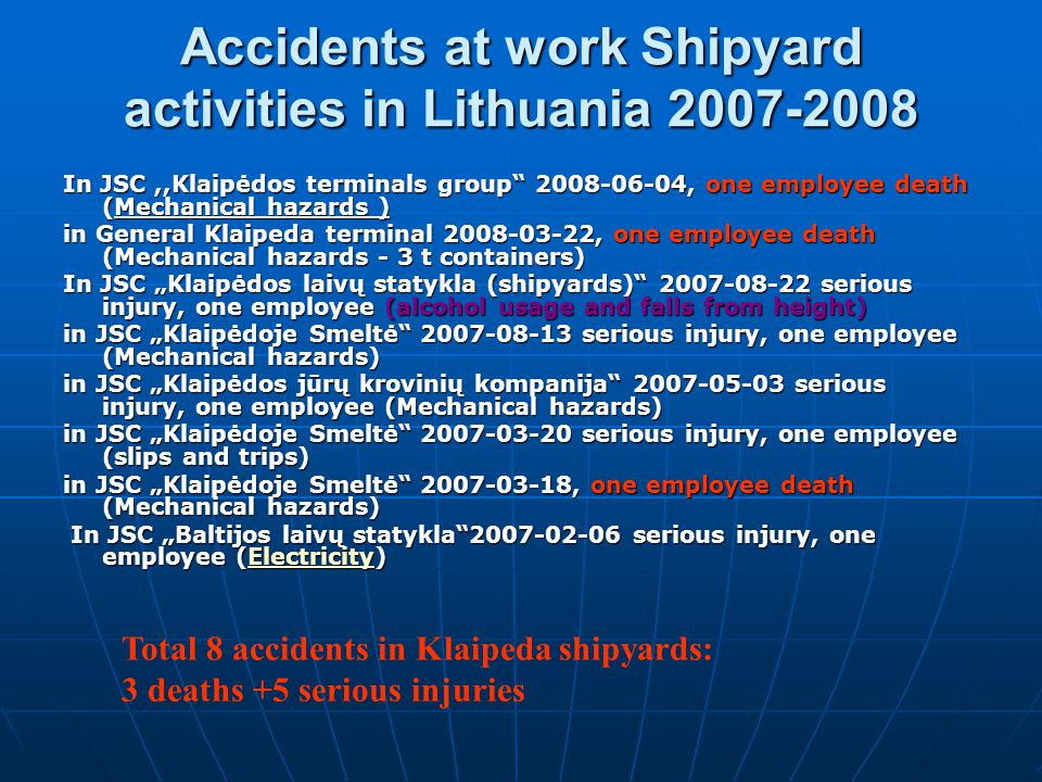 Accidents at work Shipyard activities in Lithuania 2007-2008
