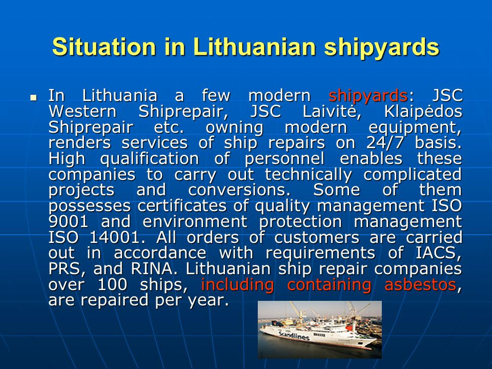Situation in Lithuanian shipyards
