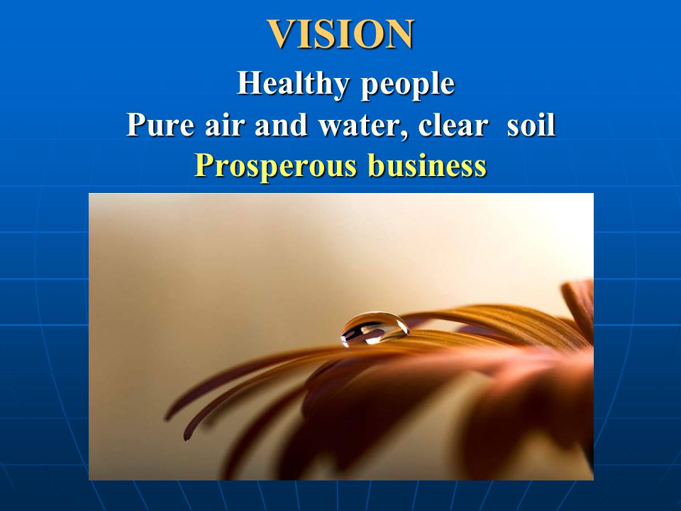 VISION Healthy people Pure air and water, clear soil Prosperous business