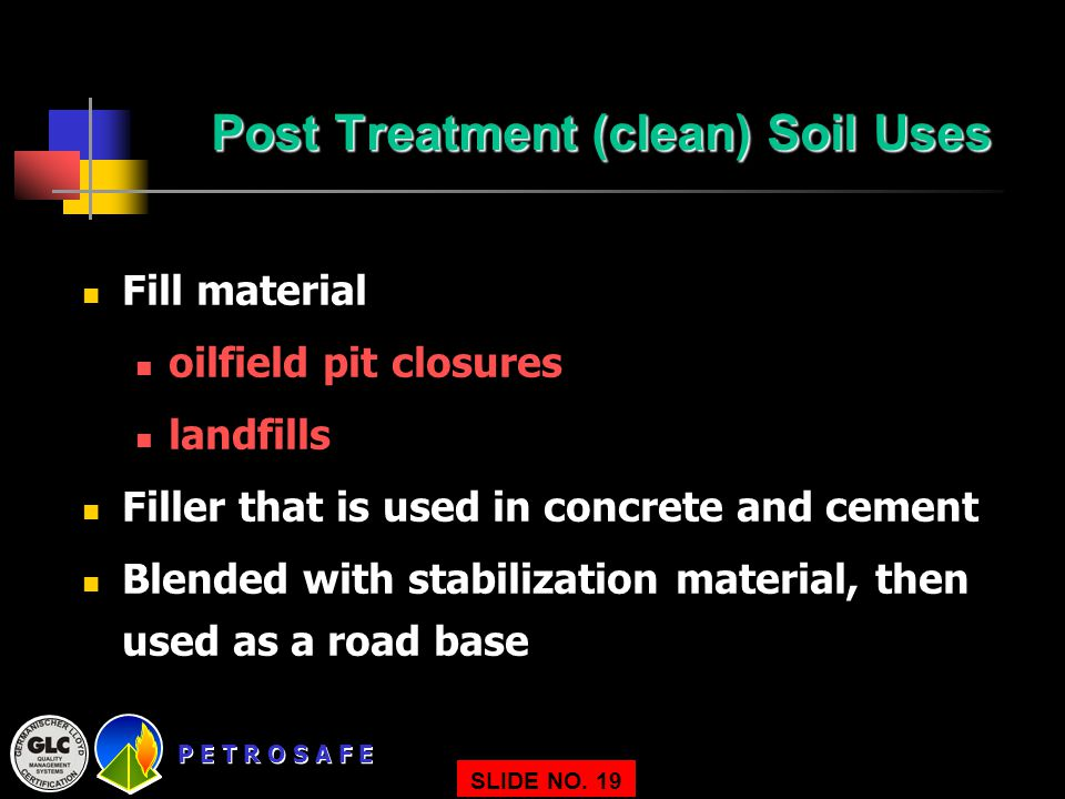 Post Treatment (clean) Soil Uses