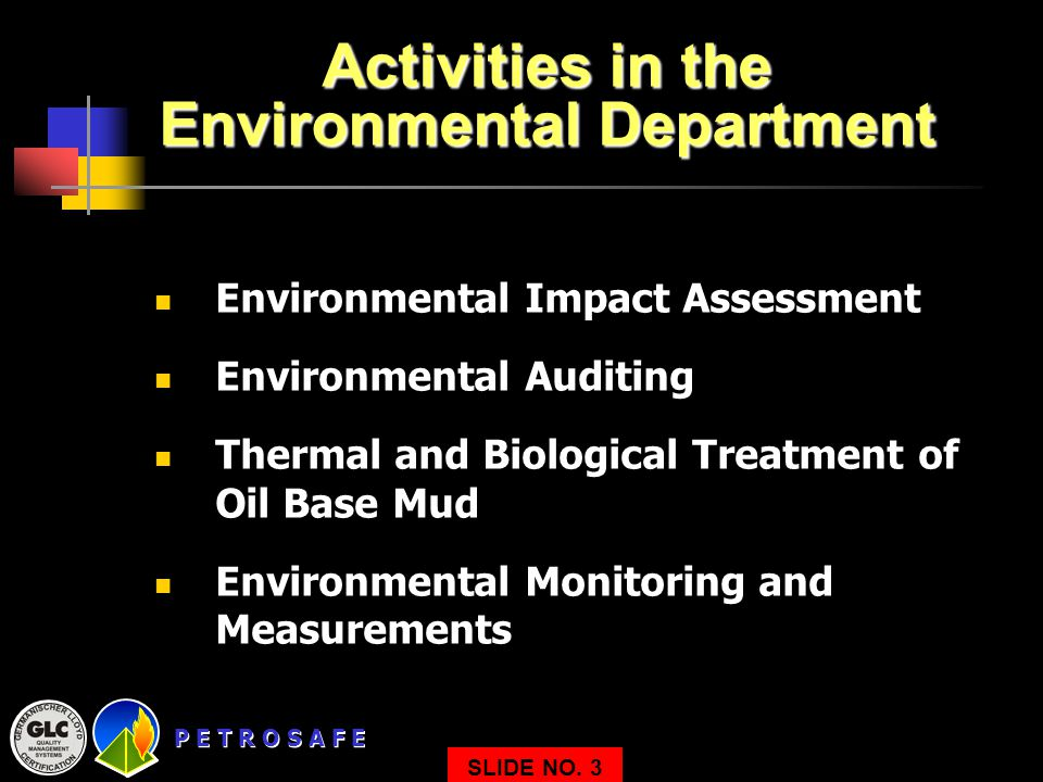 Activities in the Environmental Department
