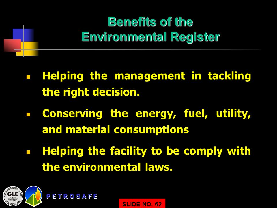 Benefits of the Environmental Register