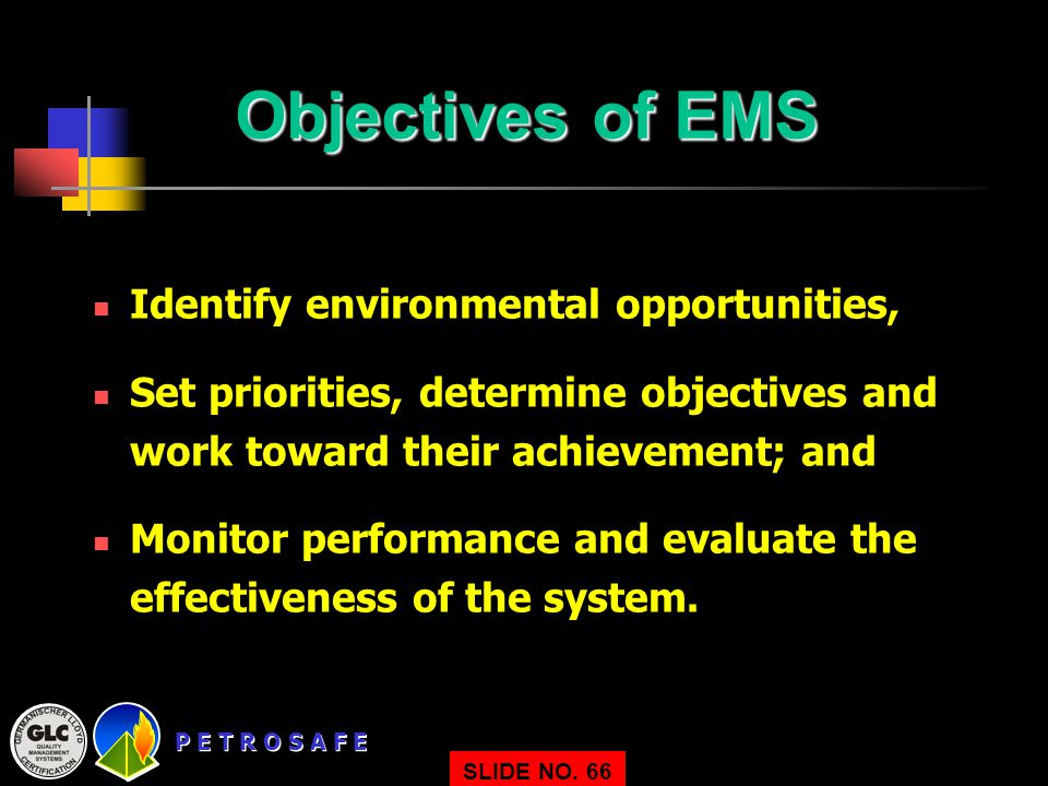 Objectives of EMS Identify environmental opportunities,