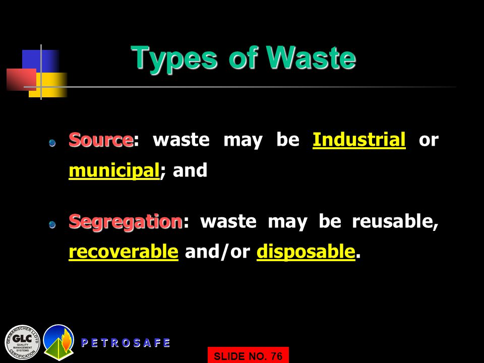 Types of Waste Source: waste may be Industrial or municipal; and