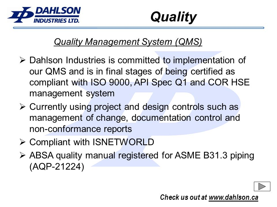 Quality Quality Management System (QMS)