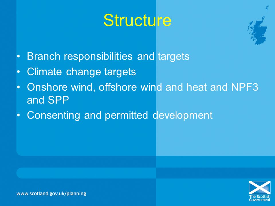 Structure Branch responsibilities and targets Climate change targets
