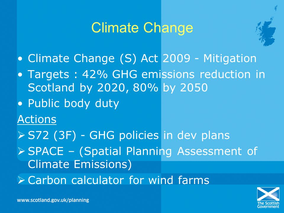 Climate Change Climate Change (S) Act 2009 - Mitigation