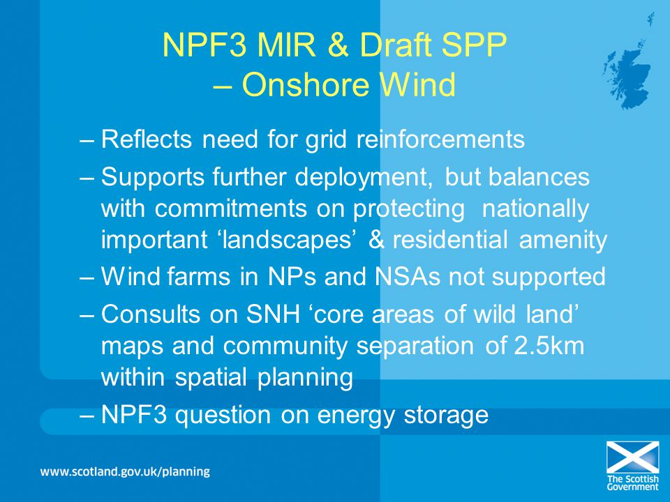 NPF3 MIR & Draft SPP – Onshore Wind