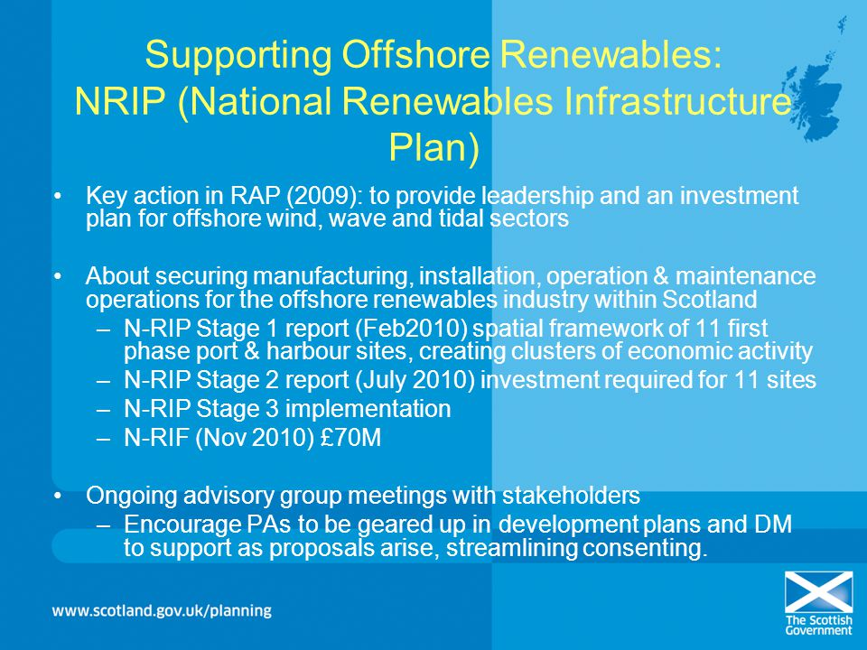 Supporting Offshore Renewables: NRIP (National Renewables Infrastructure Plan)