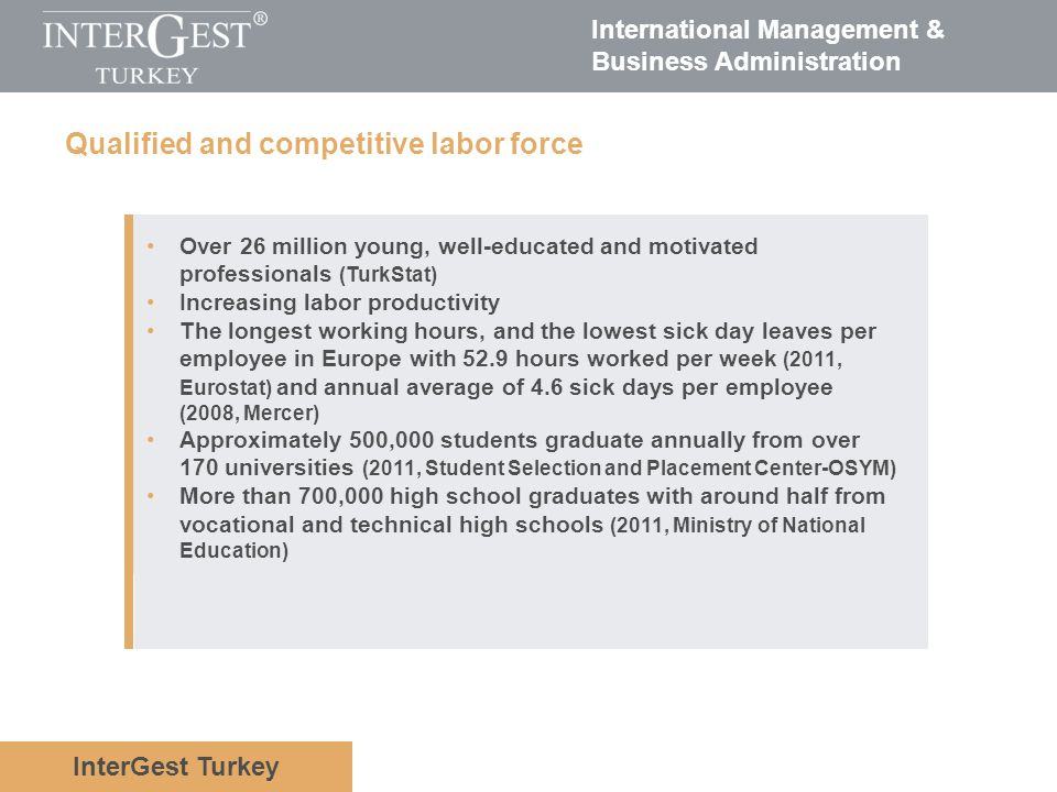 Qualified and competitive labor force