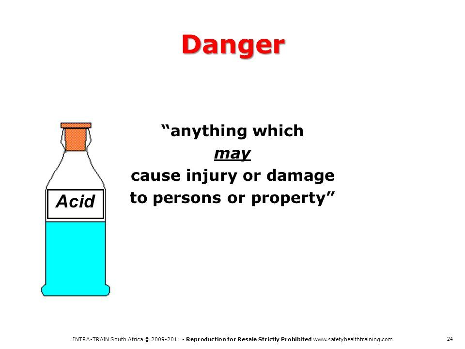 anything which may cause injury or damage to persons or property