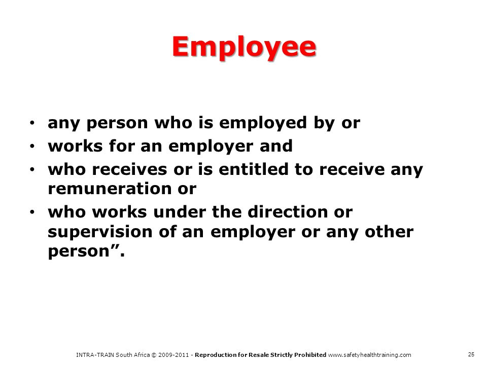 Employee any person who is employed by or works for an employer and