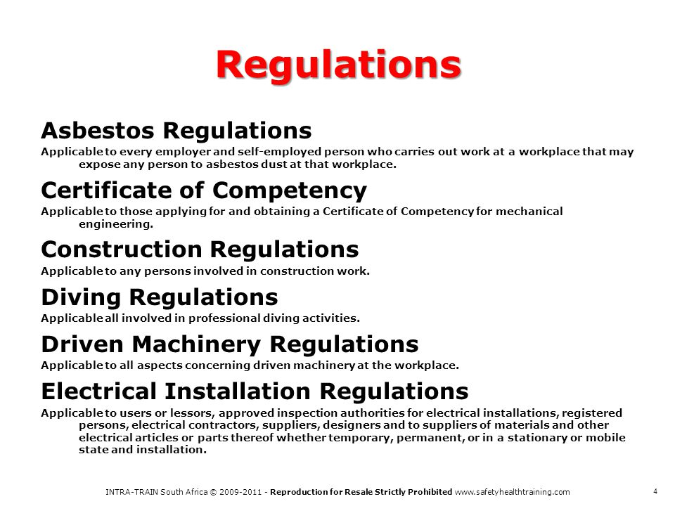Regulations Asbestos Regulations Certificate of Competency