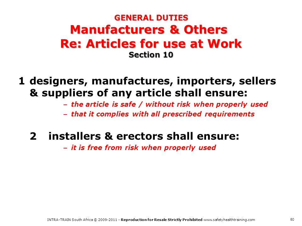 2 installers & erectors shall ensure: