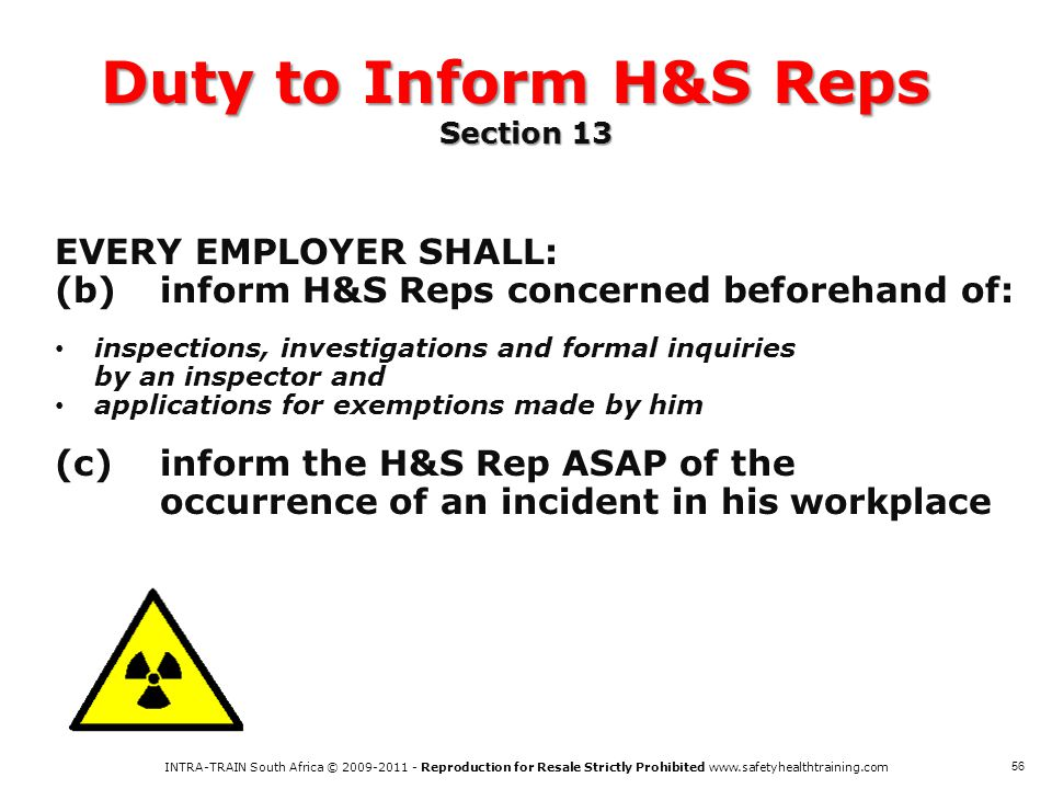 Duty to Inform H&S Reps Section 13