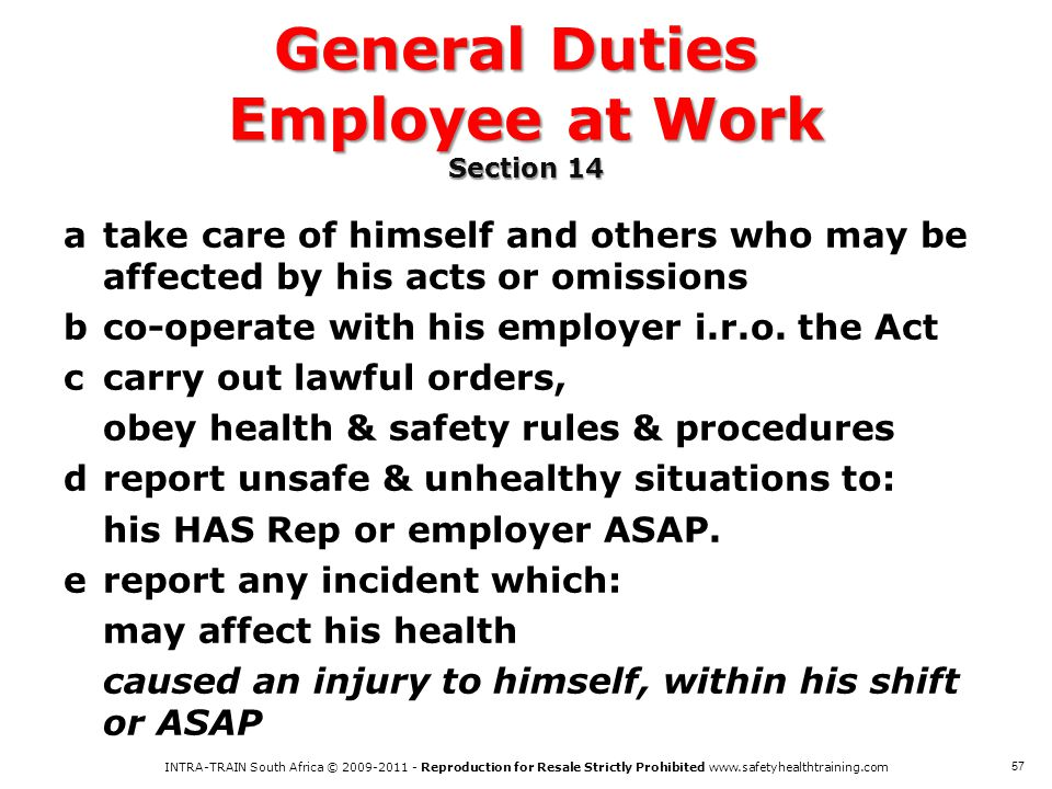 General Duties Employee at Work Section 14