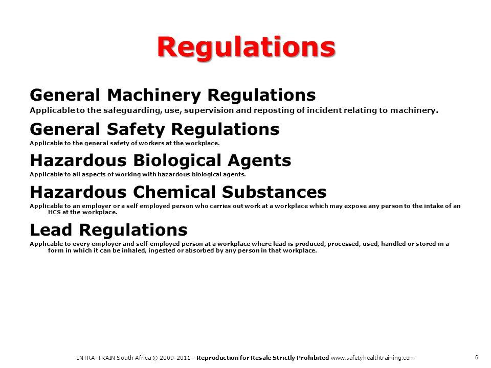 Regulations General Machinery Regulations General Safety Regulations