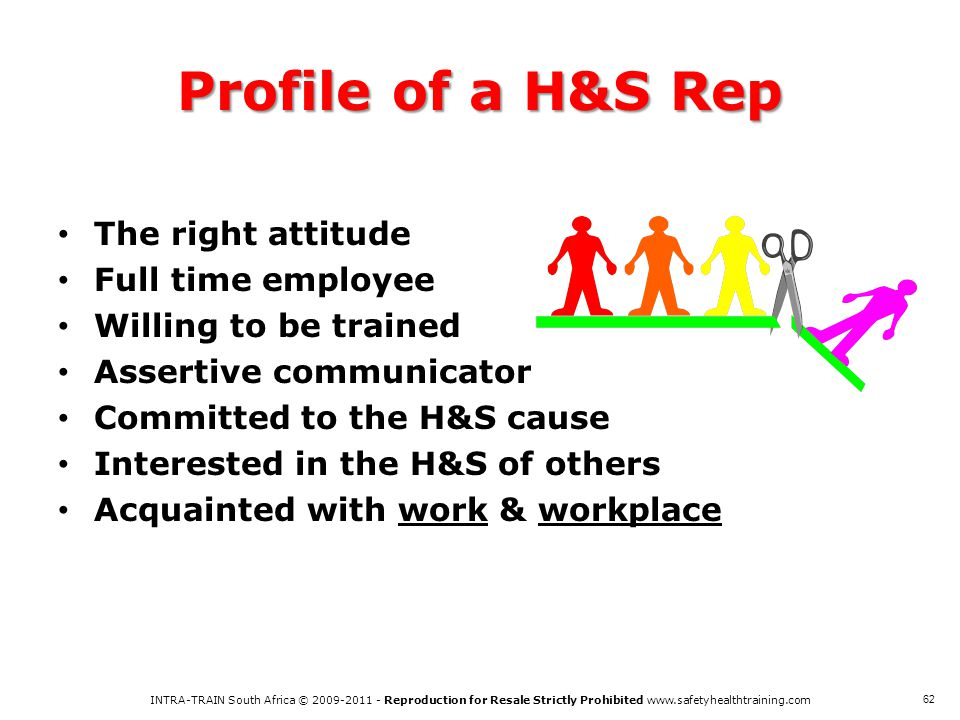Profile of a H&S Rep The right attitude Full time employee