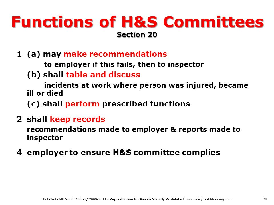 Functions of H&S Committees Section 20