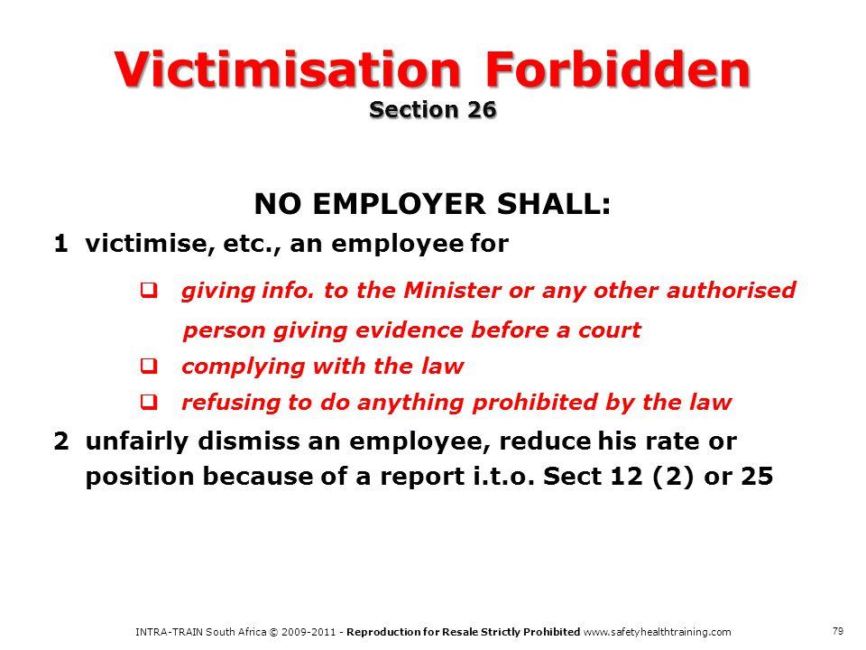Victimisation Forbidden Section 26
