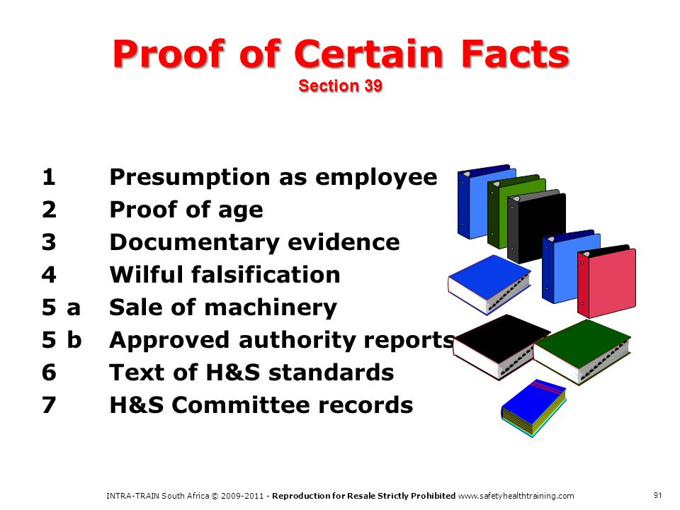 Proof of Certain Facts Section 39