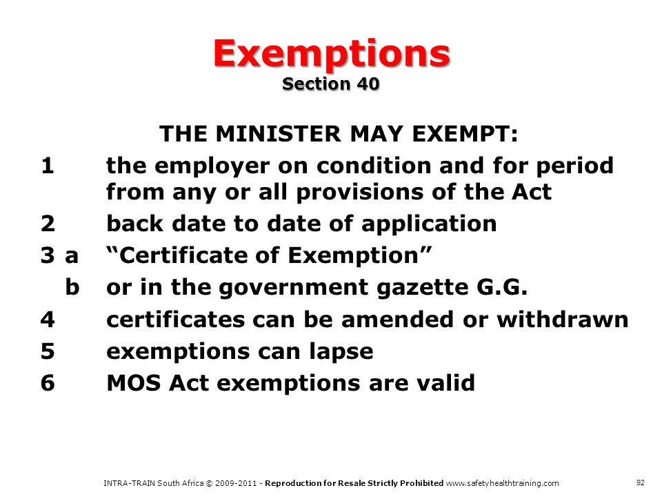 Exemptions Section 40