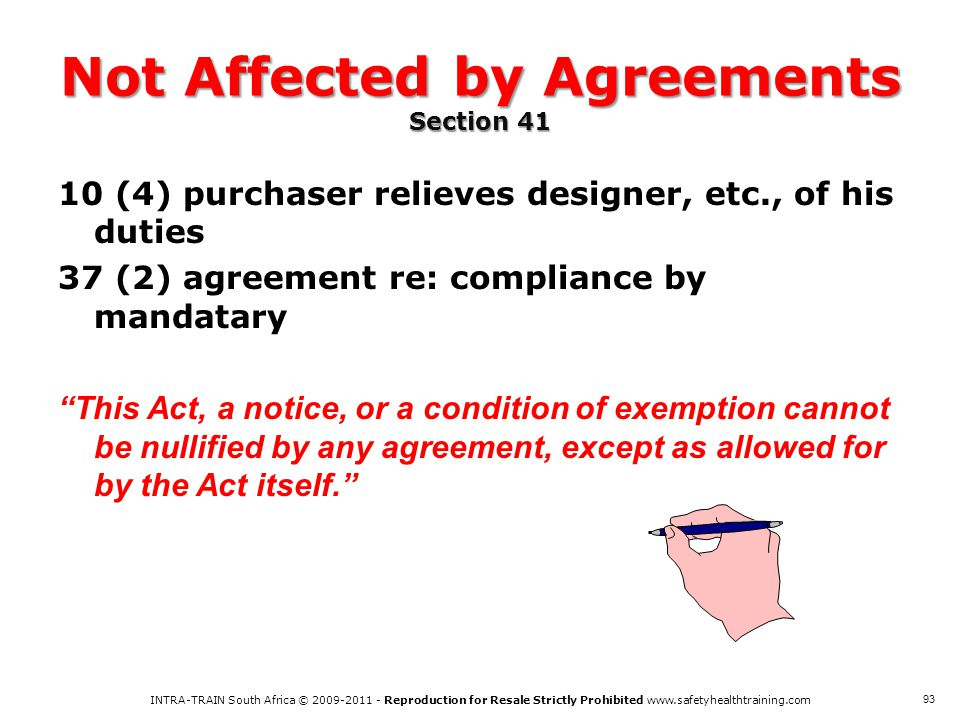 Not Affected by Agreements Section 41