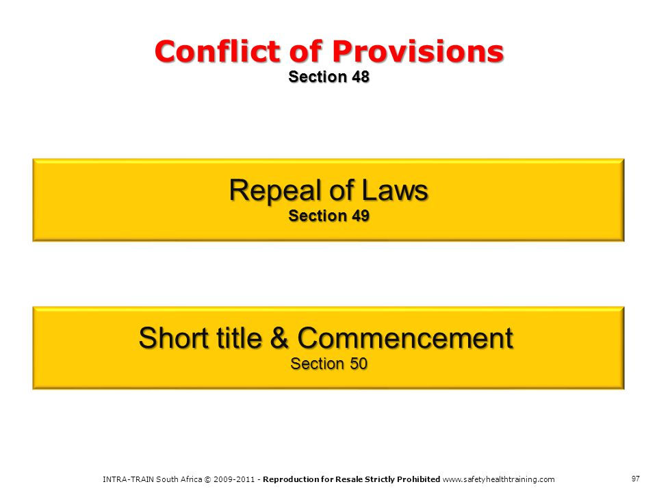 Conflict of Provisions Section 48