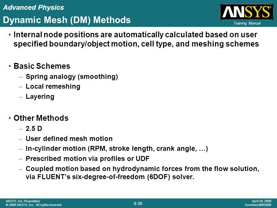 Dynamic Mesh (DM) Methods