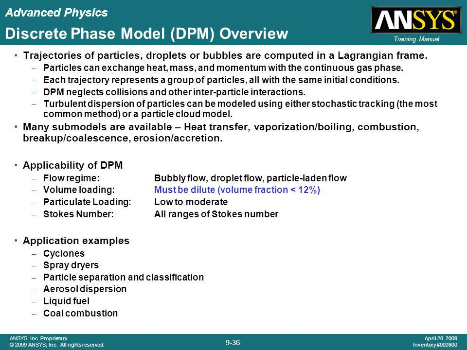 Discrete Phase Model (DPM) Overview