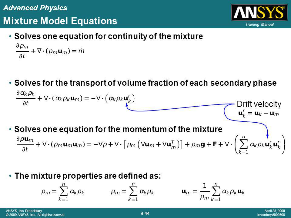 Mixture Model Equations