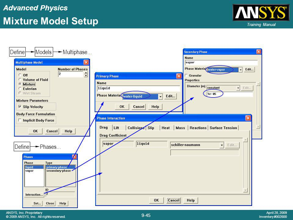 Mixture Model Setup Define Models Multiphase… Define Phases…