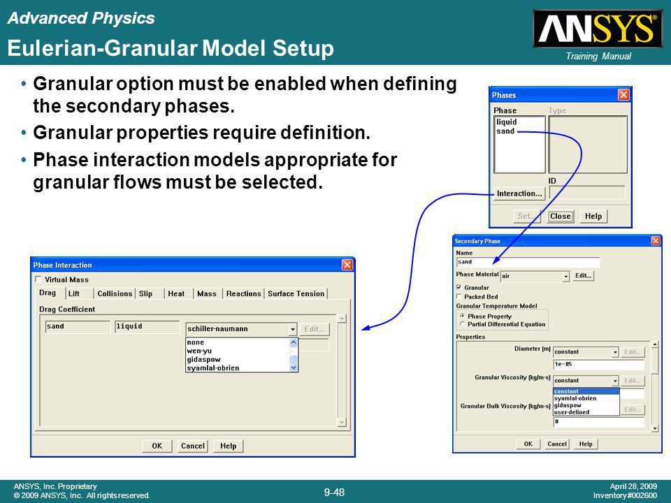 Eulerian-Granular Model Setup
