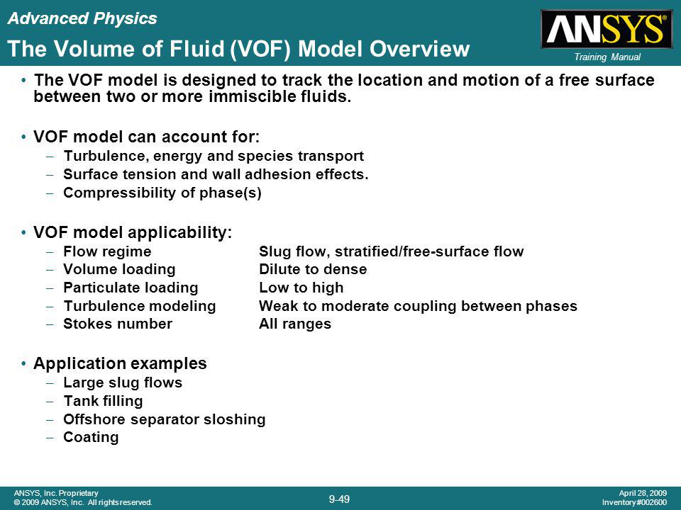 The Volume of Fluid (VOF) Model Overview
