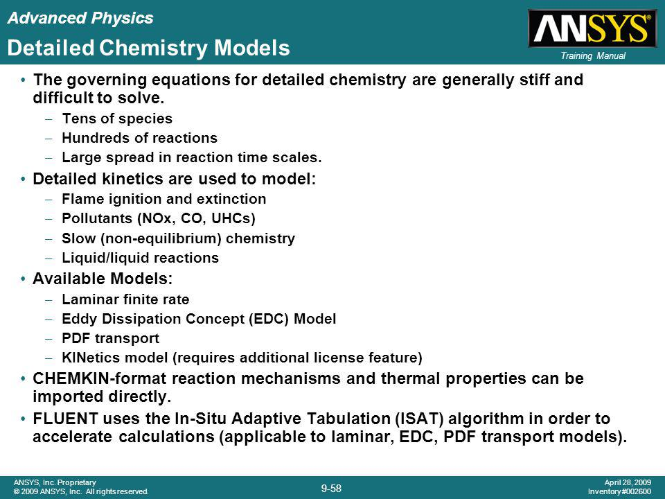 Detailed Chemistry Models