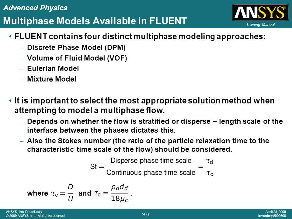 Multiphase Models Available in FLUENT