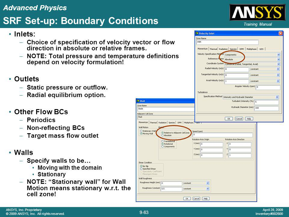 SRF Set-up: Boundary Conditions