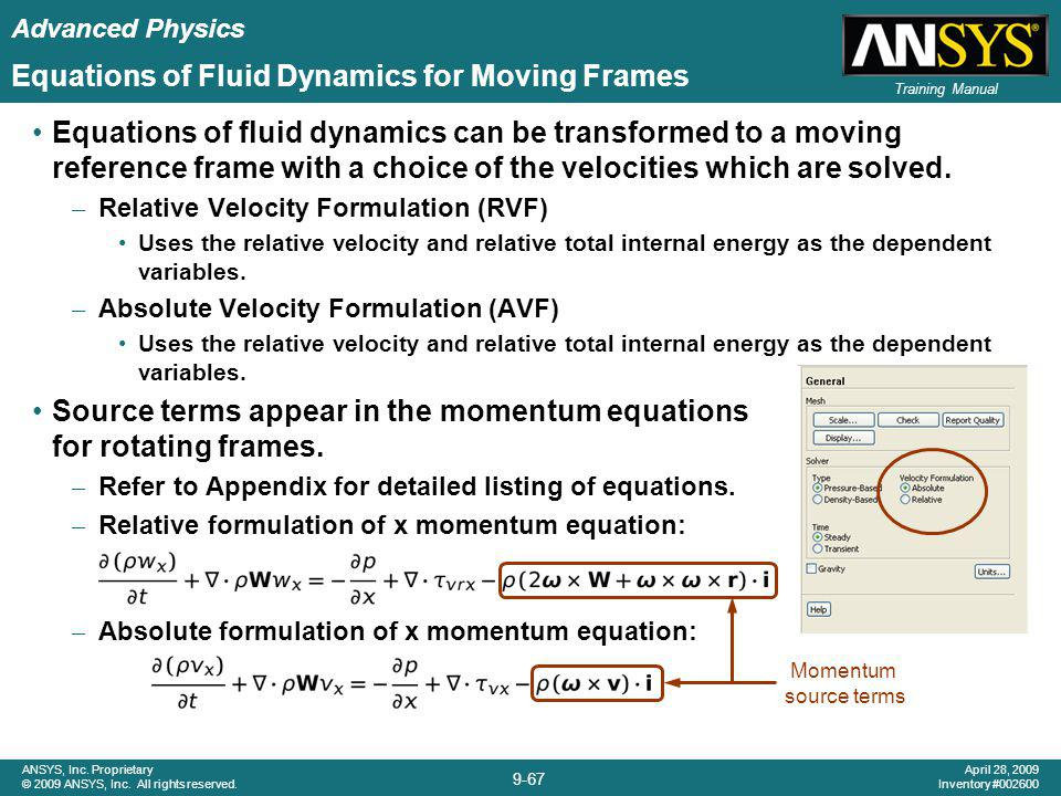 Equations of Fluid Dynamics for Moving Frames
