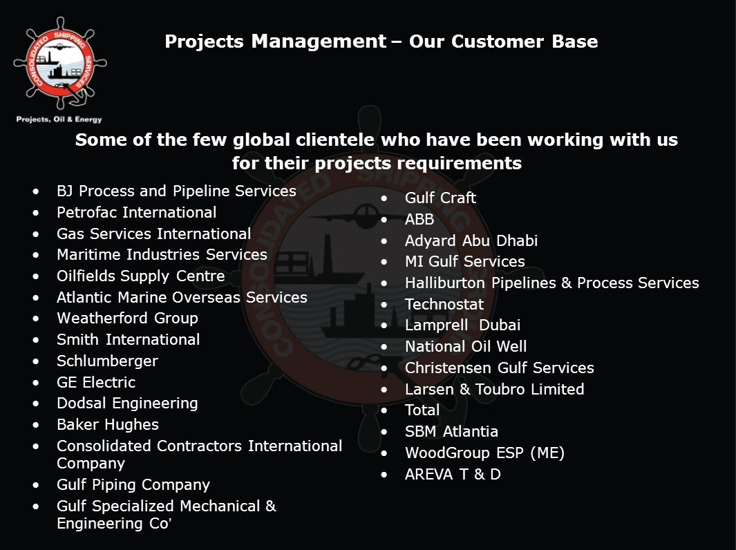 Projects Management – Our Customer Base