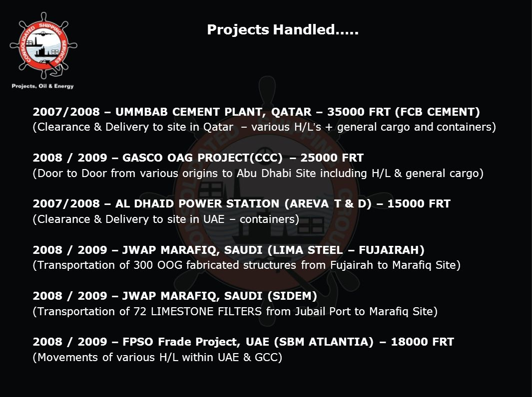 Projects Handled….. 2007/2008 – UMMBAB CEMENT PLANT, QATAR – 35000 FRT (FCB CEMENT)
