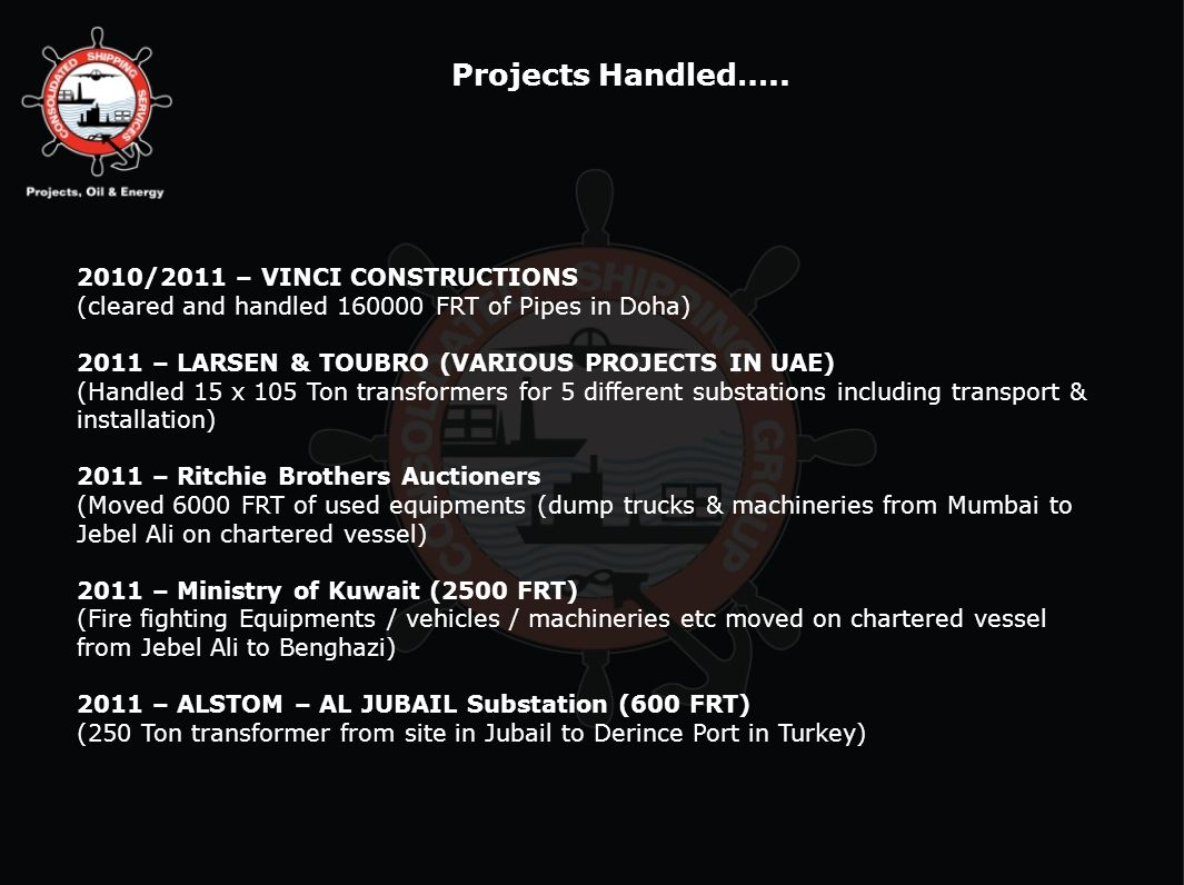 Projects Handled….. 2010/2011 – VINCI CONSTRUCTIONS