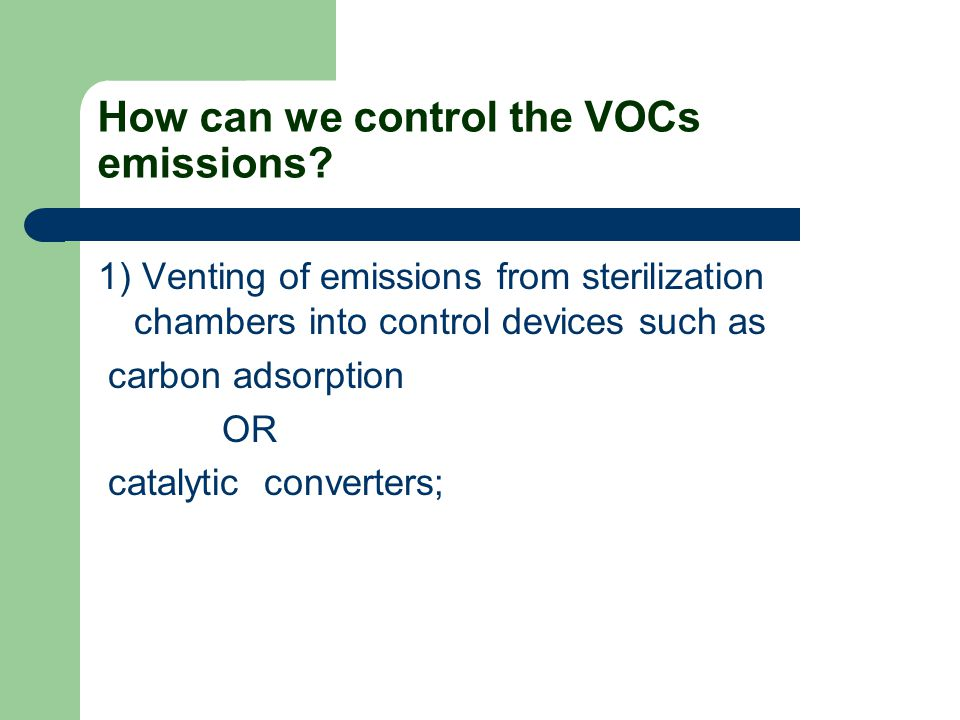 How can we control the VOCs emissions