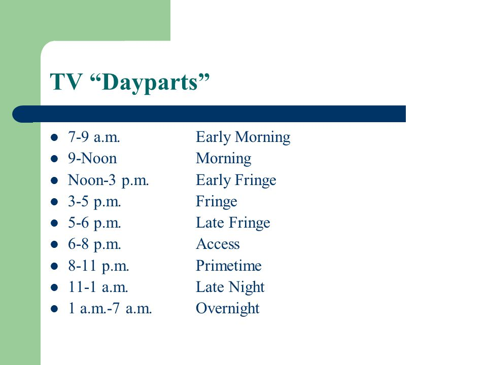 TV Dayparts 7-9 a.m. Early Morning 9-Noon Morning