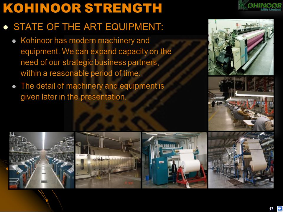 KOHINOOR STRENGTH STATE OF THE ART EQUIPMENT: