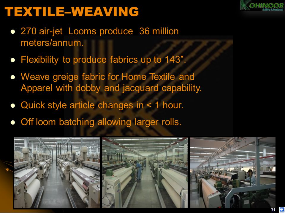 TEXTILE–WEAVING 270 air-jet Looms produce 36 million meters/annum.