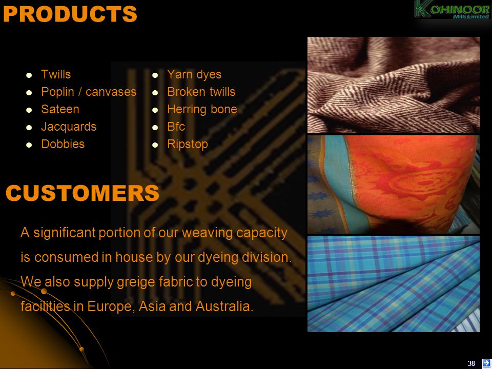 PRODUCTS Twills. Yarn dyes. Poplin / canvases. Broken twills. Sateen. Herring bone. Jacquards.