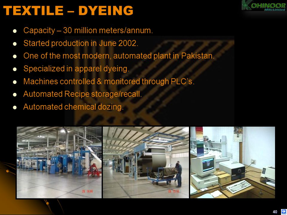 TEXTILE – DYEING Capacity – 30 million meters/annum.