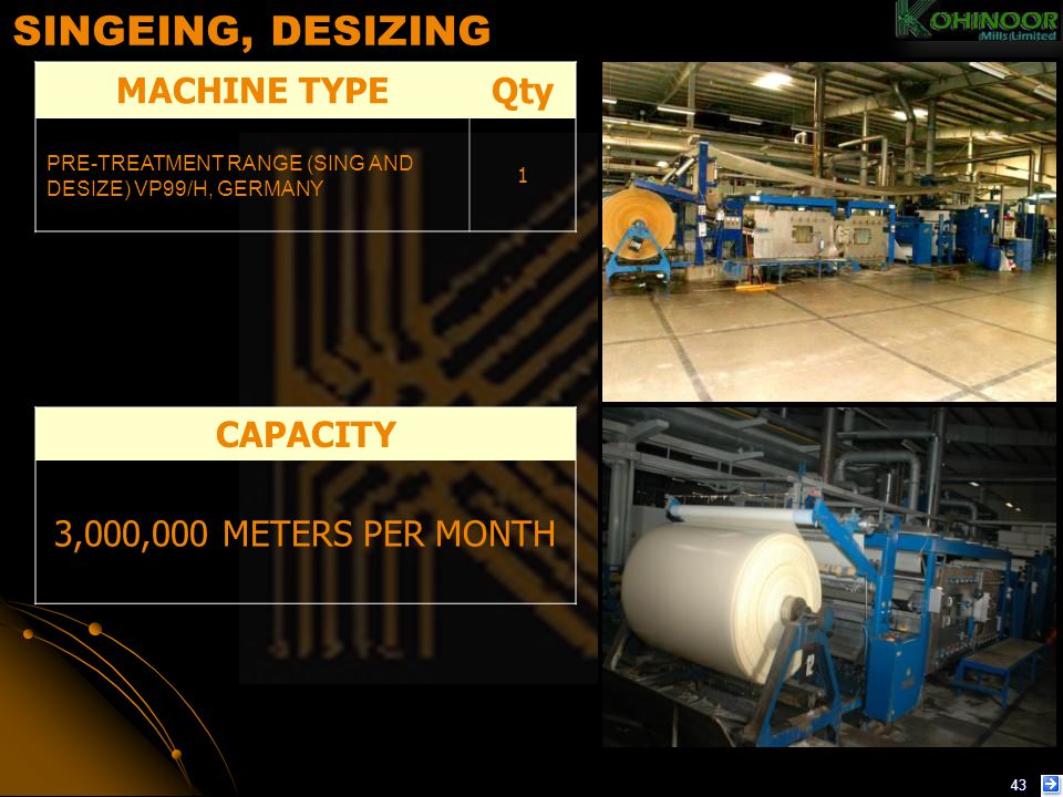 SINGEING, DESIZING MACHINE TYPE Qty CAPACITY