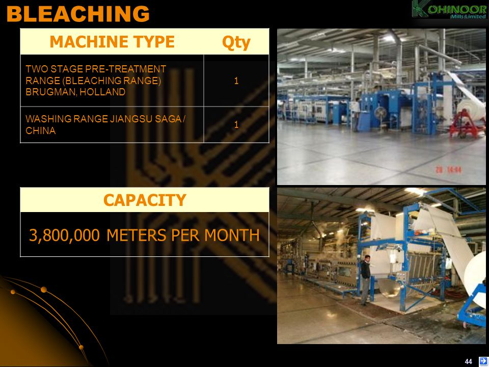 BLEACHING MACHINE TYPE Qty CAPACITY 3,800,000 METERS PER MONTH